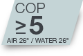 COP >5.1 pour Air 15°C/Water 26°C